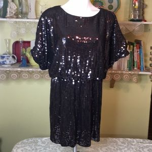 Xscape Glittery Black Cocktail Dress with Sequins